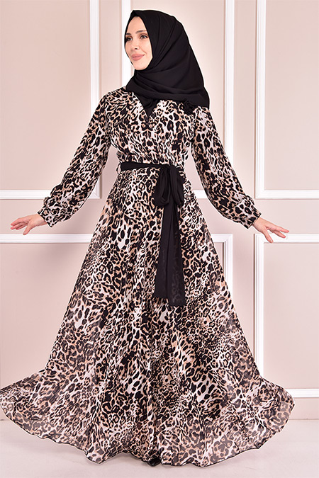 Modamerve Leopar Şifon Elbise