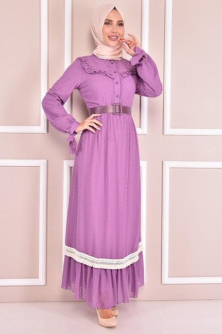 Modamerve Lila Kemerli Elbise