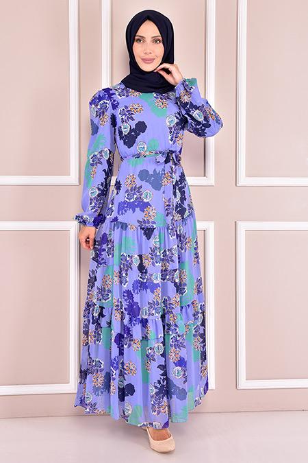 Modamerve Mavi Desenli Şifon Elbise