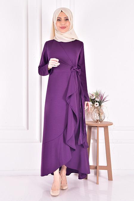 Modamerve Mor Kuşaklı Elbise