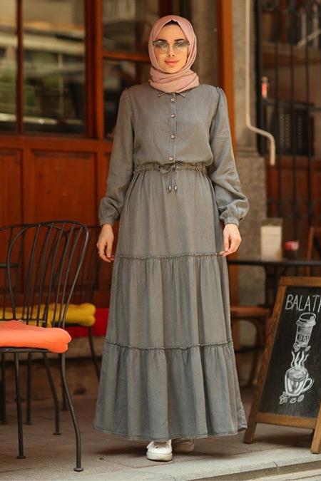 Neways Gri Büzgülü Süs Bağcıklı Elbise