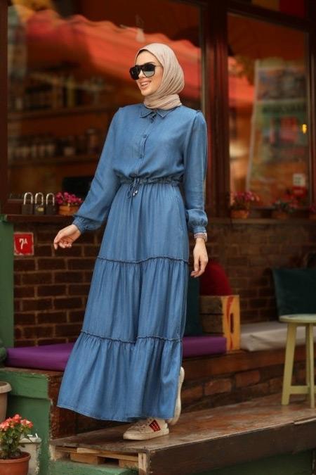 Neways Mavi Büzgülü Süs Bağcıklı Elbise