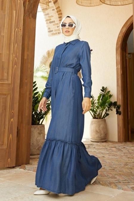 Neways Mavi Kemerli Tensel Elbise