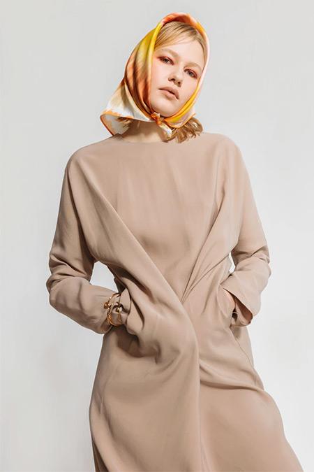 Nuum Design Bej Doğal Kumaş Cepli Elbise