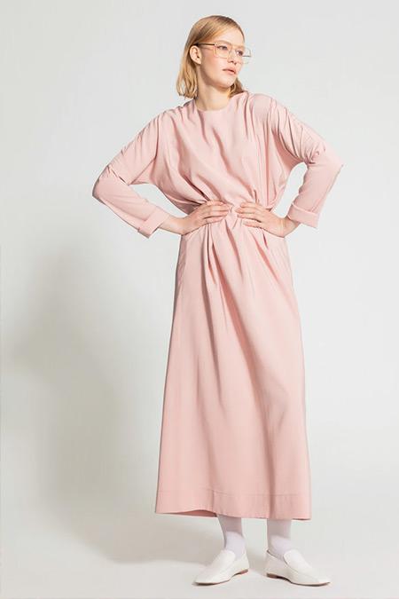 Nuum Design Pudra Doğal Kumaş Cepli Elbise