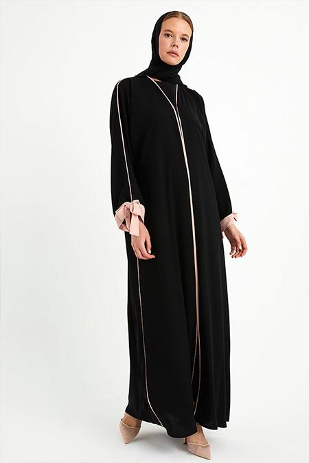 Nuum Design Siyah Çıtçıtlı Ferace