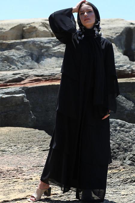 Nuum Design Siyah Şifon Abaya Şal Takım Ferace