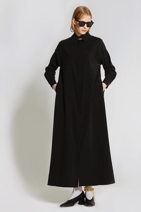 Nuum Design Siyah Doğal Kumaş Cepli Gömlek Elbise