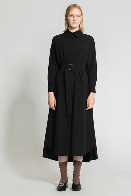 Nuum Design Siyah Kuşaklı Poplin Gömlek