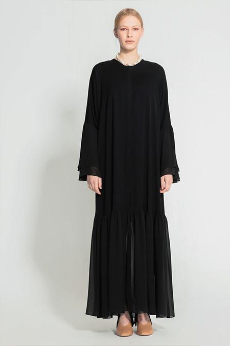 Nuum Design Siyah Volan Detaylı Abaya
