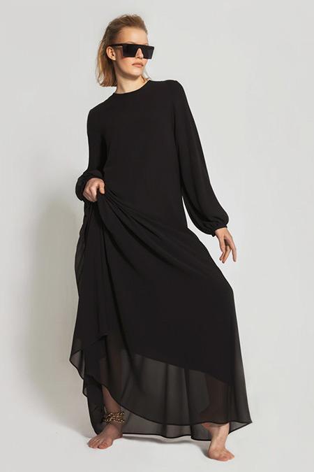 Nuum Design Siyah Volanlı Şifon Elbise