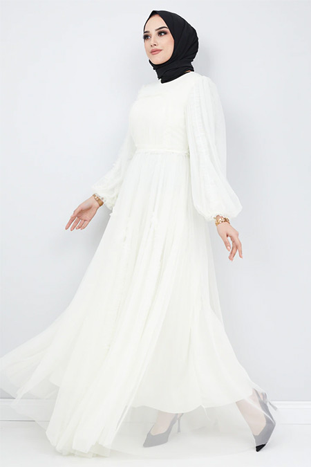 Olcay Ekru Önü ve Kolları Fırfır Detaylı Tüllü Abiye Elbise