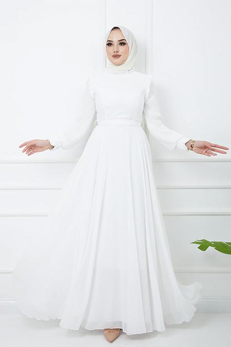 Olcay Ekru Fırfır Detaylı Kolları Piliseli Abiye Elbise