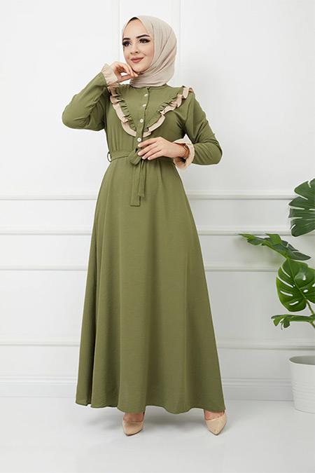 Olcay Haki Fırfır Detaylı İki Renkli Elbise