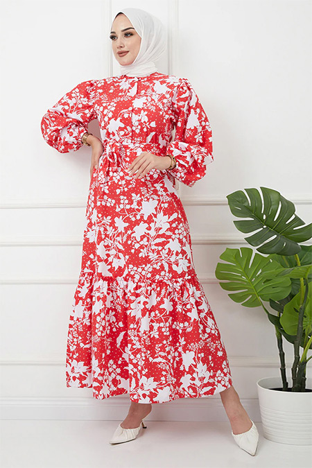 Olcay Kırmızı Beyaz Hakim Yaka Eteği Fırfırlı Çiçek Desenli Elbise