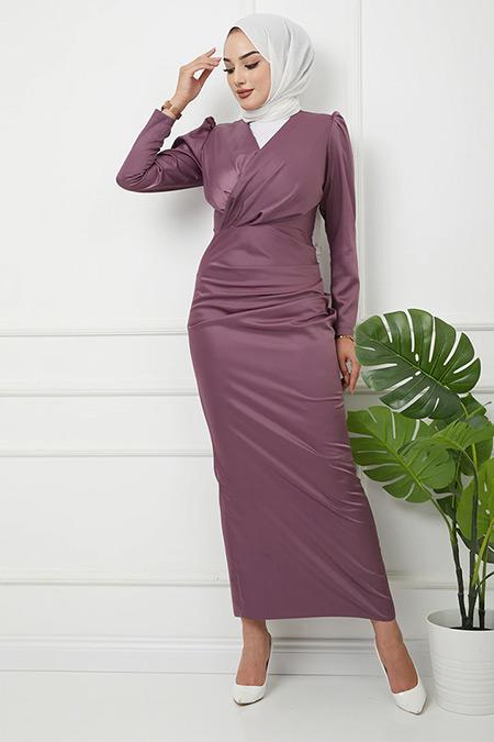 Olcay Koyu Lila V Yaka Pile Detaylı Saten Abiye Elbise