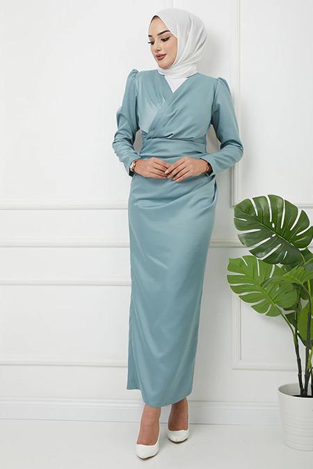 Olcay Mint V Yaka Pile Detaylı Saten Abiye Elbise
