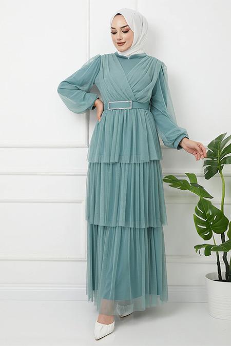 Olcay Mint Yeşili Kemeri Taş Detaylı Tüllü Kat Kat Abiye Elbise