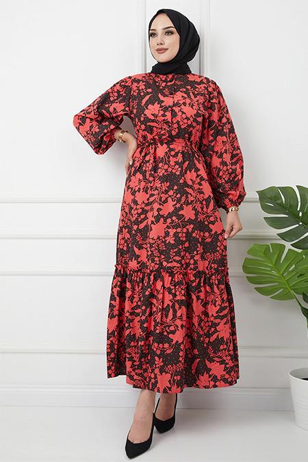 Olcay Siyah Mercan Hakim Yaka Eteği Fırfırlı Çiçek Desenli Elbise