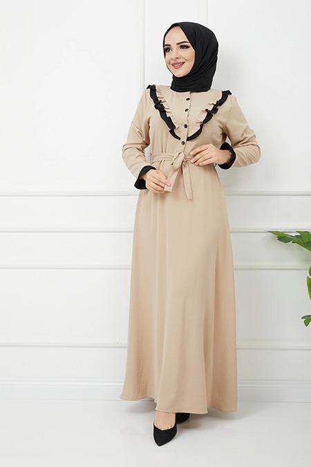 Olcay Vizon Fırfır Detaylı İki Renkli Elbise
