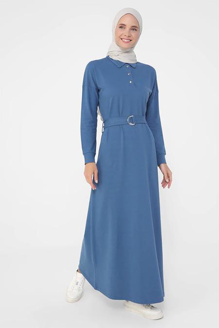 Refka Açık Lacivert Doğal Kumaşlı Yakası Çıtçıtlı Kemerli Elbise