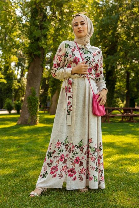 Refka Bej Fuşya Doğal Kumaşlı Çiçek Desenli Gömlek Elbise