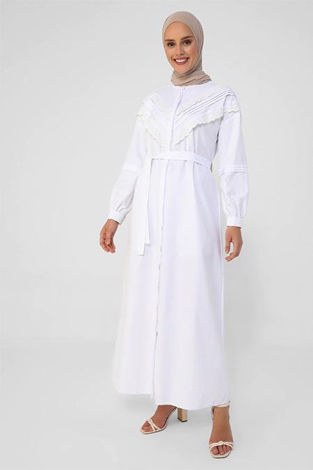 Refka Beyaz Nakış Detaylı Poplin Gömlek Elbise