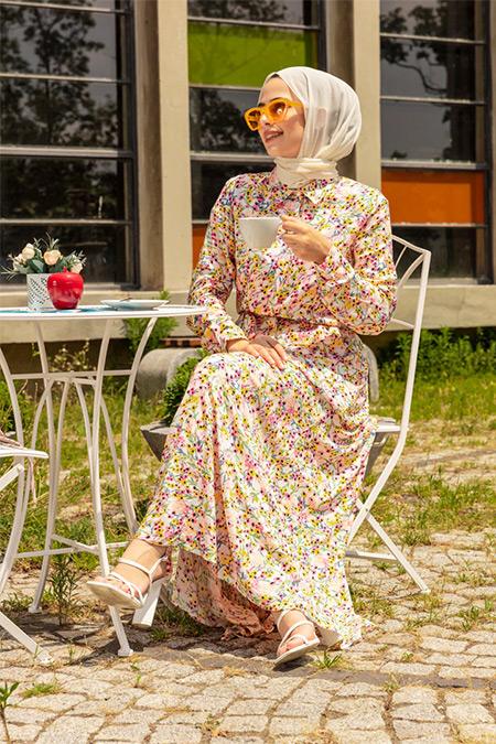 Refka Ekru Pembe Doğal Kumaşlı Çiçekli Gömlek Elbise
