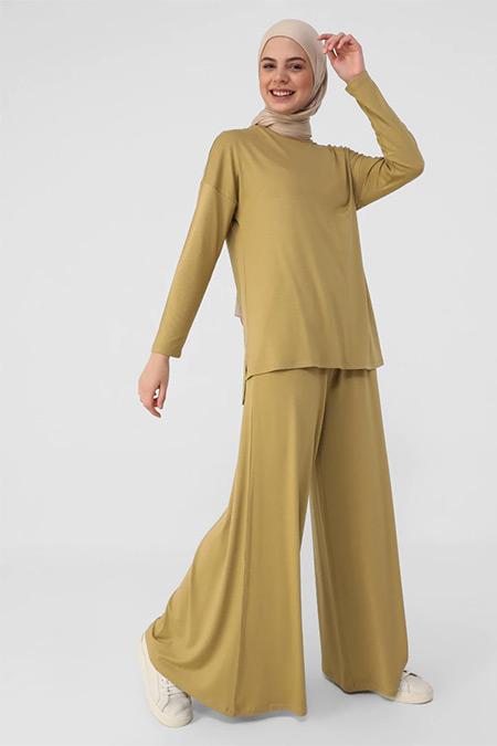 Refka Gold Viskon Kumaş Tunik&Pantolon İkili Takım