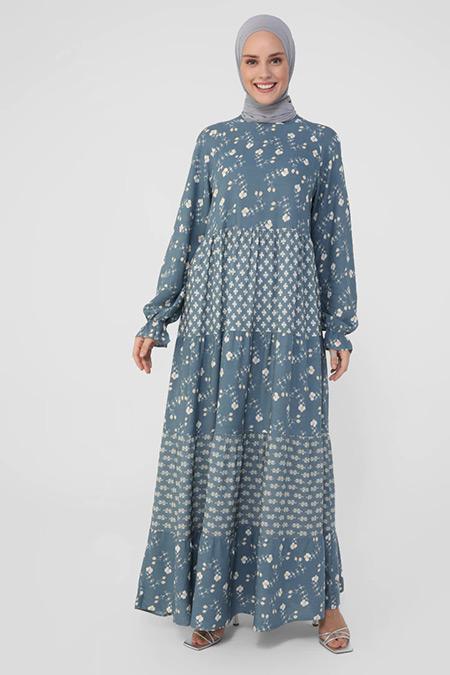 Refka İndigo Doğal Kumaşlı Desenli Elbise