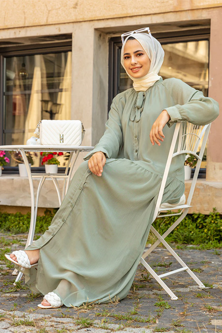 Refka Kekik Yeşili Yakası Bağlamalı Şifon Salaş Elbise