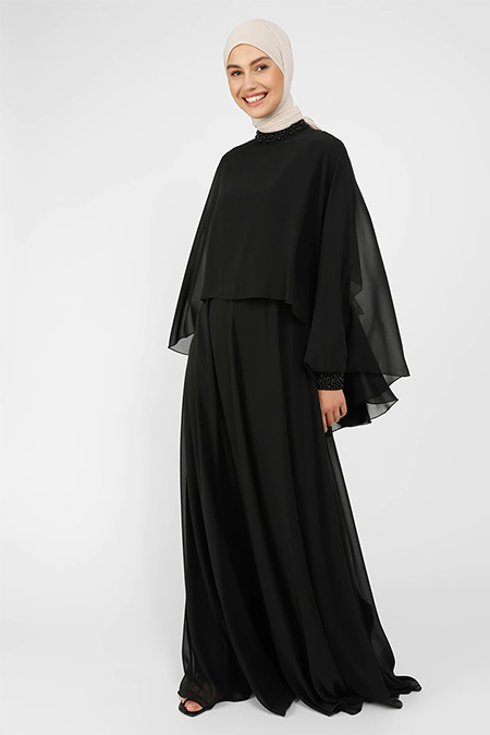 Refka Siyah Boncuk Detaylı Tül Abiye Elbise