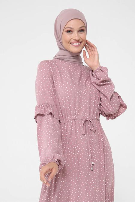 Refka Vişne Doğal Kumaşlı Fırfır Detaylı Puantiyeli Elbise