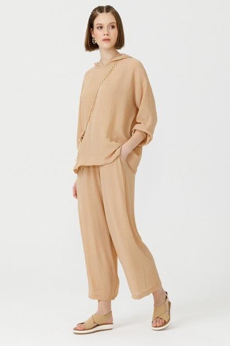 Seçil Bej Elastik Bel Pantolon