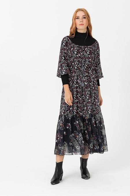 Seçil Bordo Desenli Dik Yakalı Elbise
