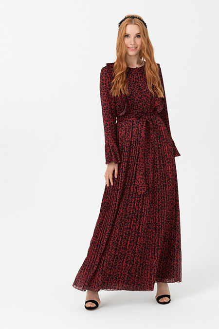 Seçil Bordo Leopar Desenli Eteği Pliseli Elbise