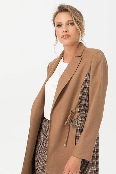 Seçil Camel Kazayağı Desen Detaylı Ceket