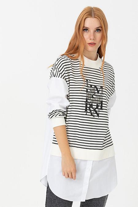 Seçil Ekru Çizgi Desenli Gömlek Detaylı Tunik