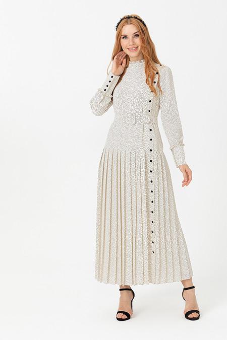 Seçil Ekru Düğme Detaylı Puantiyeli Elbise