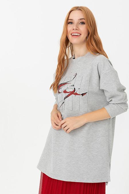 Seçil Gri Önü Detaylı Yuvarlak Yakalı Sweatshirt