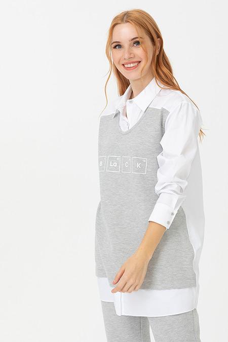 Seçil Gri Gömlek Detaylı Swatshirt