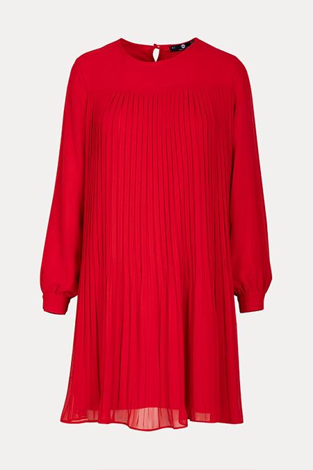 Seçil Kırmızı Pliseli Uzun Kollu Tunik