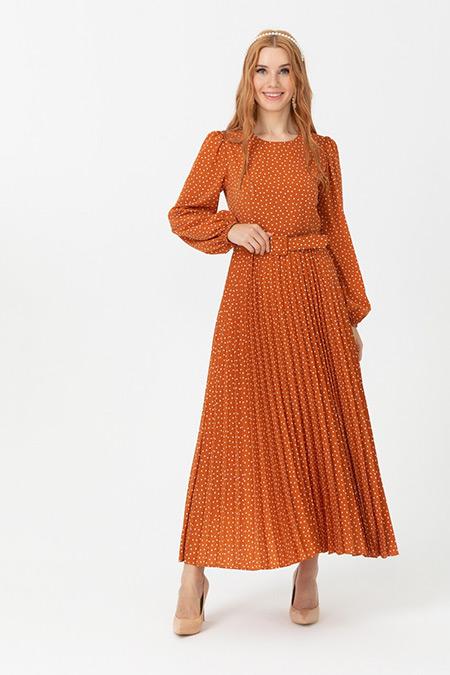 Seçil Kiremit Puantiyeli Eteği Pliseli Elbise