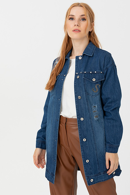 Seçil Lacivert Şerit Detaylı Jean Ceket