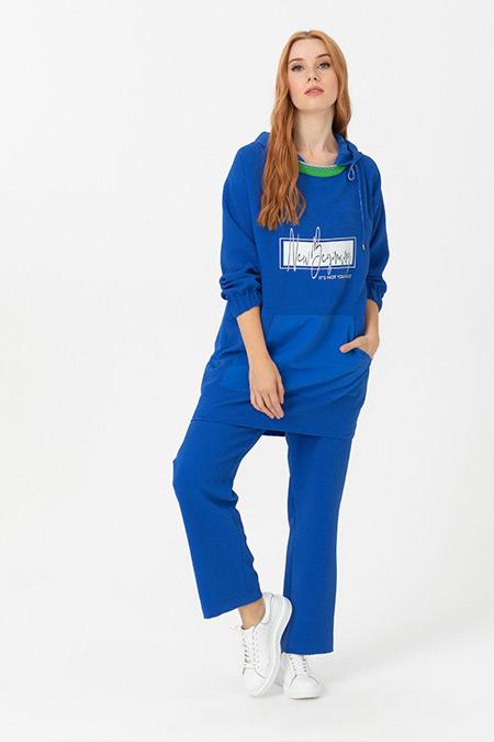 Seçil Saks Mavi Elastik Bel Rahat Kesim Pantolon