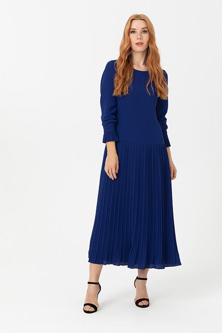 Seçil Saks Mavi Eteği Pliseli Uzun Kollu Elbise