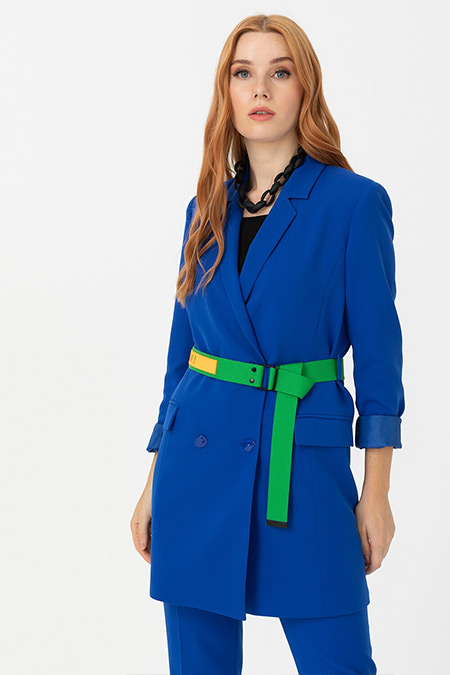 Seçil Saks Mavi Renkli Kemerli Blazer Ceket