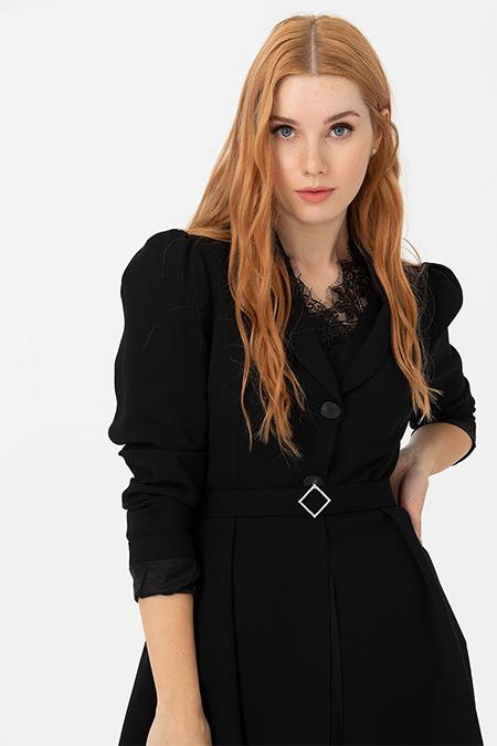 Seçil Siyah Beli Kemerli Ceket