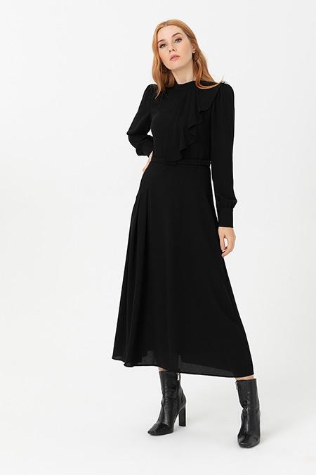 Seçil Siyah Beli Kemerli Elbise