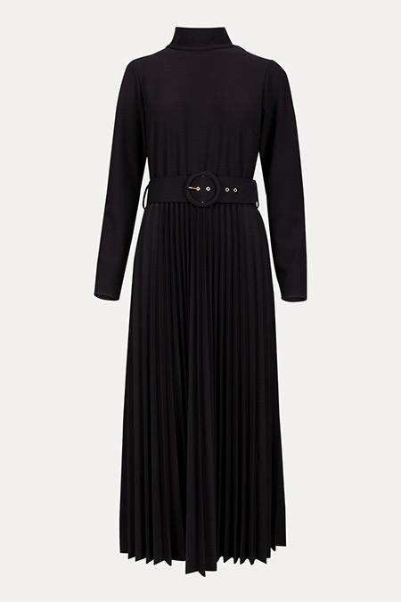 Seçil Siyah Dik Yakalı Eteği Pliseli Elbise